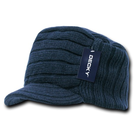615 - Knitted Flat Top Cap (w/Visor)