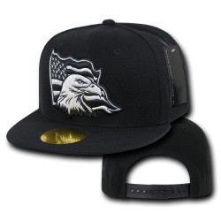 Flat Bill Eagle Caps, USA, Black