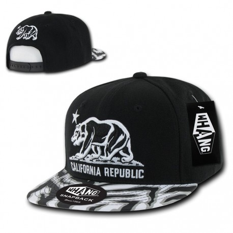 Ziger Cali Bear Snapbacks, White / Black