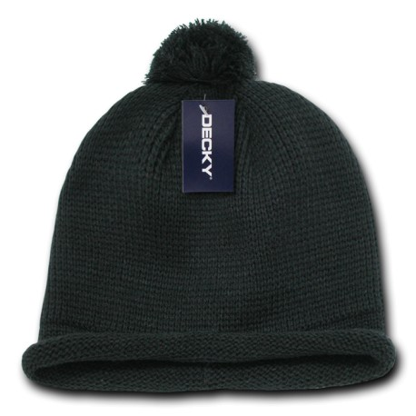 611A - Solid Roll Up Beanies (w/Pom)