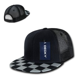 1085 - Checkered Bill Trucker Caps