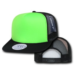 222 - Flat Bill Neon Foam Trucker Caps