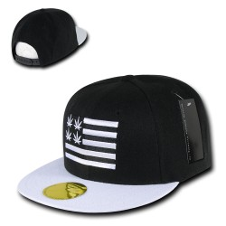Flat Bill Snapbacks, Weed 2, Black/White