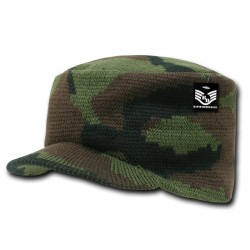 R603- Woodland Camo Jeep Flat Knit Caps
